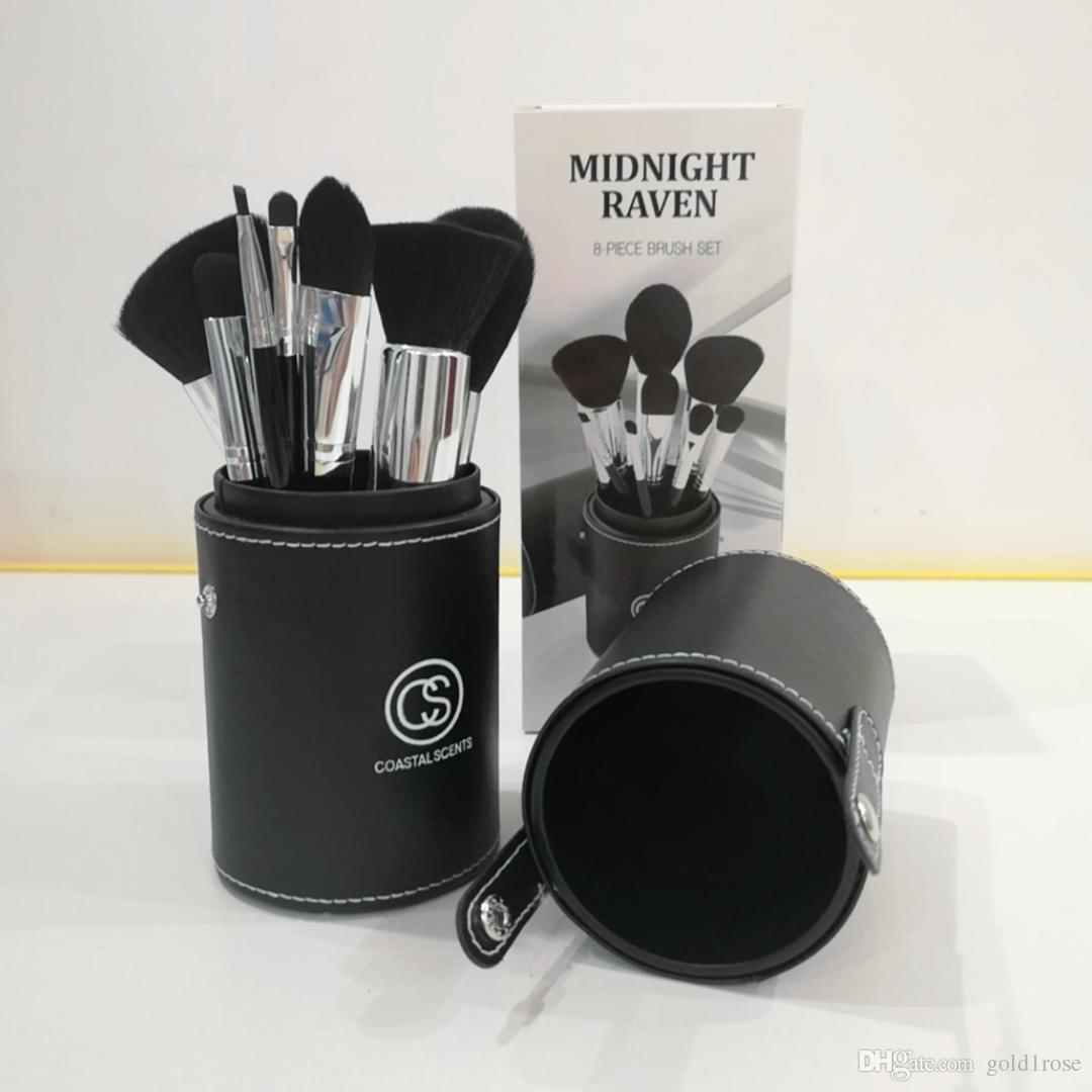 High-quality!Hot New Coastalscents MIDNIGHT RAVEN Makeup Brushes Professional 8 Pieces Goat Hair Wood DHL free Shipping+gift