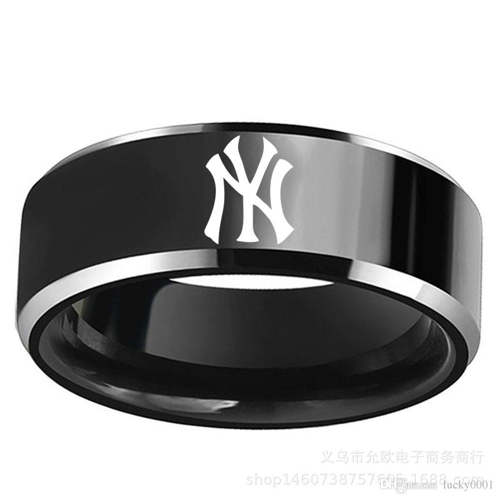 a6dd69e0fb31c Latest Design Black New York - Yankees Logo Baseball Titanium Steel Ring  Men's and Women's Fans Gift Rings