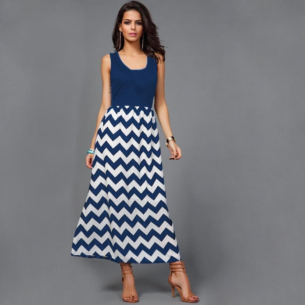 41524b47492f Maxi Dress Summer 2018 Long Beach Summer Dress Mommy Me Women Wave Striped  Print Sundress Vest Slim Dress Family Clothes Cocktail Party Dresses  Evening ...