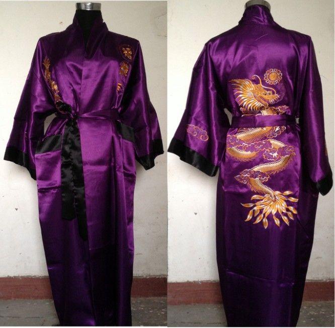 a576edd513 Purple Black Reversible Two-face Chinese Men s Silk Satin Robe Embroidery  Dragon Kimono Bath Gown SIZE M-3XL SZ-4 Gown Pageant Gown Kids Gown  Bridesmaid ...