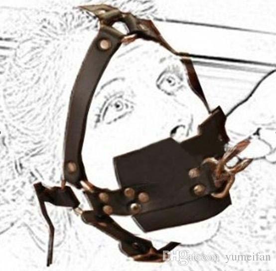 Fournitures pour adultes verrouillant la bouche de traction dispositif contenant de haute qualité PU Type de harnais de bondage de type full gag Fétiche limitent Bandeau