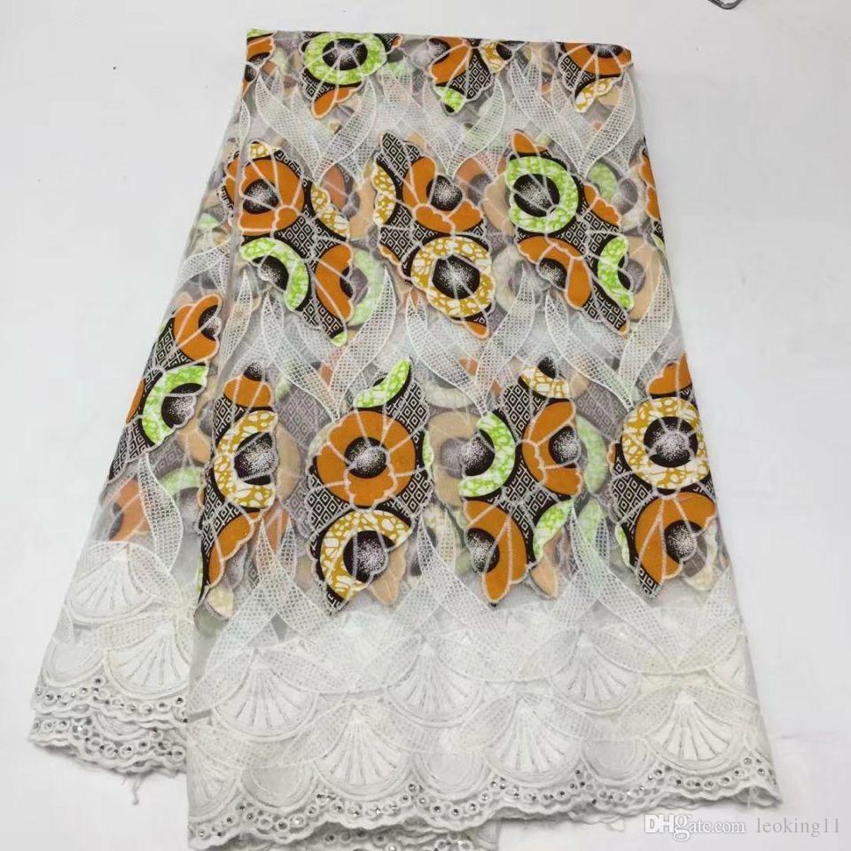 5yards / pc ricamo meraviglioso stile giallo pizzo di seta del latte africano e tessuto di cotone viola il vestito BM3-4