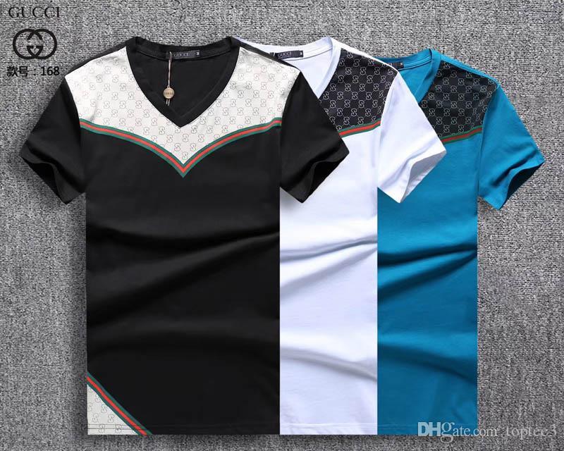 6aa0e3f211 Compre 2018 Homens Hot 100% Algodão Imprimir Camisas Dos Homens De Roupas  De Luxo Da Marca T Camisas De Algodão Elástico Casuais Homens T Shirt  Masculino ...