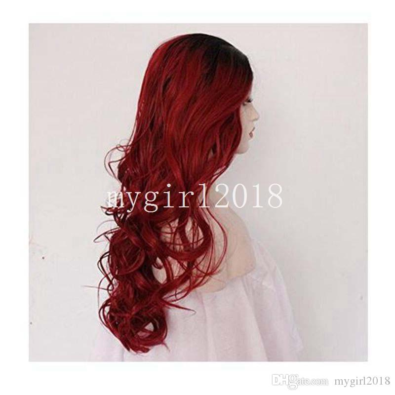 whole sale high quality synthetic Hair red Natural Wavy Long Ombre Dark Roots High Temperature Fiber Glueless Lace Front Wig