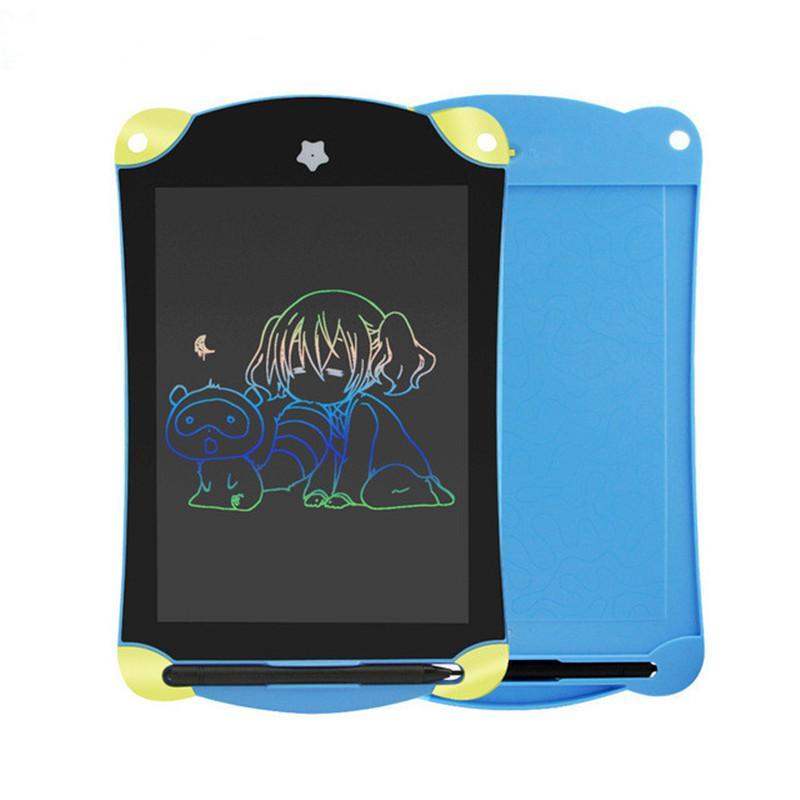 Karikatür 8.5 inç LCD Yazma Tablet Dijital Çizim Tablet Renkli El Yazısı Pedleri Çocuklar için Taşınabilir Grafik Mavi Elektronik Kurulu