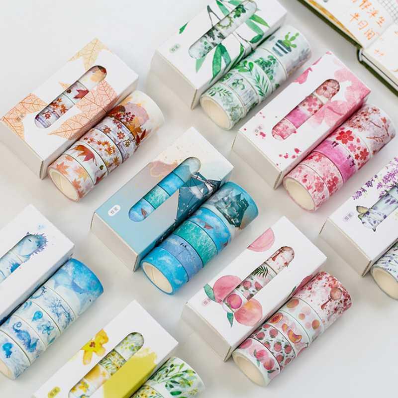 grosshandel 5 teile paket nette washi tape set blutenblatt blume himmel meer papier abdeckbander japanisches washi klebeband diy schreibwaren scrapbooking