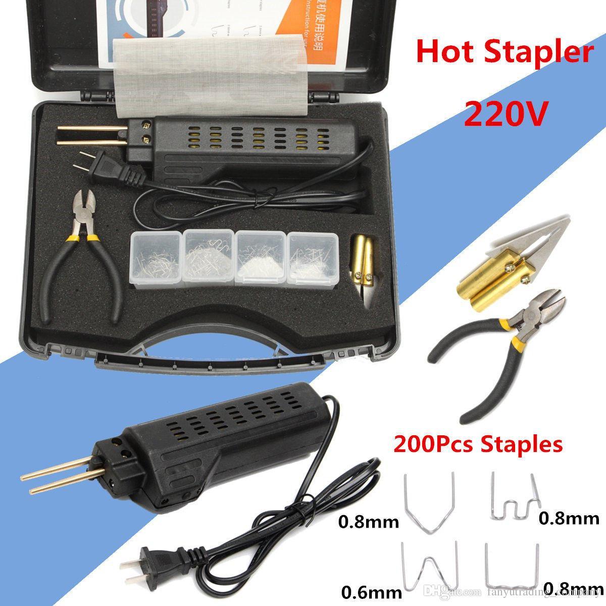 2019 전문 핫 스테이플러 플라스틱 수리 시스템 용접 건 범퍼 페어링 자동 바디 도구 플라스틱 용접기 + 200 스테이플
