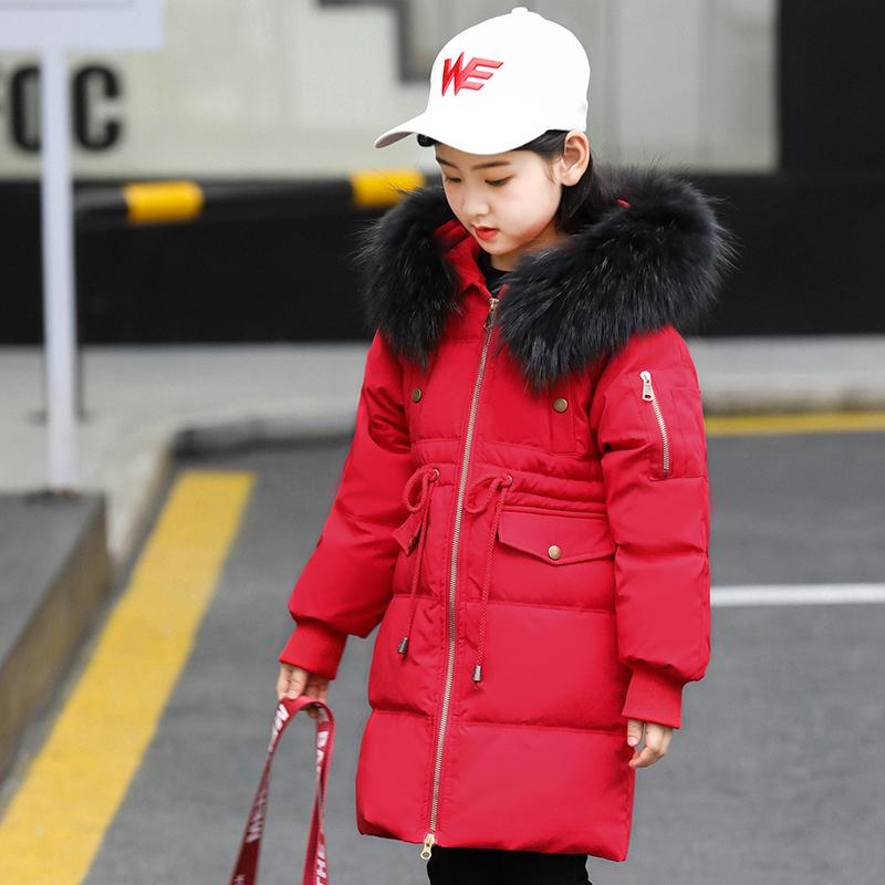 f94a528e6709 5 14 Years Children Boy Girl Down Jacket Winter Thick Warm Long Coat  Raccoon Fur Hooded Kids Outerwear Clothes For 2018 New Kids Winter Coat  Clearance ...