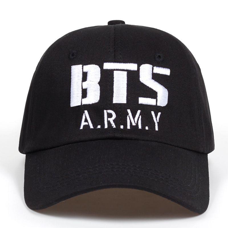Kpop BTS ARMY Logo Embroidery Baseball Cap Cotton Korea Hiphop ... d06792d817c2