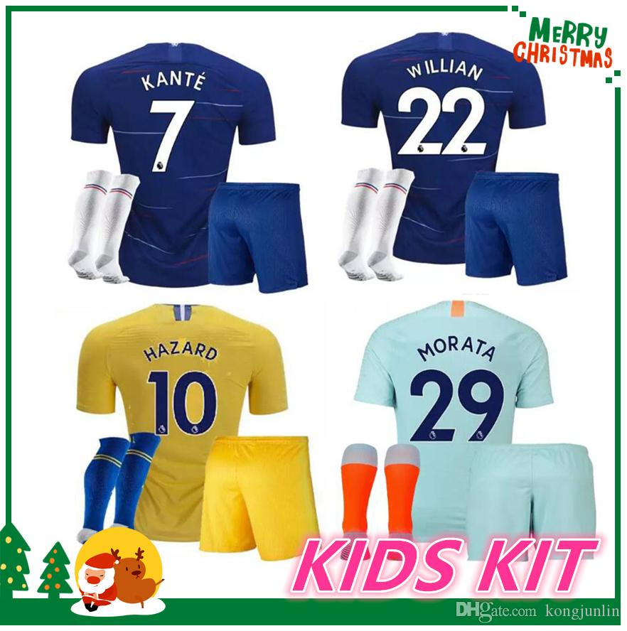 Online Cheap 18 19 Kids Kit Hazard Soccer Jersey 2018 2019 Home Blue Pedro  Pato Zouma 213aea941