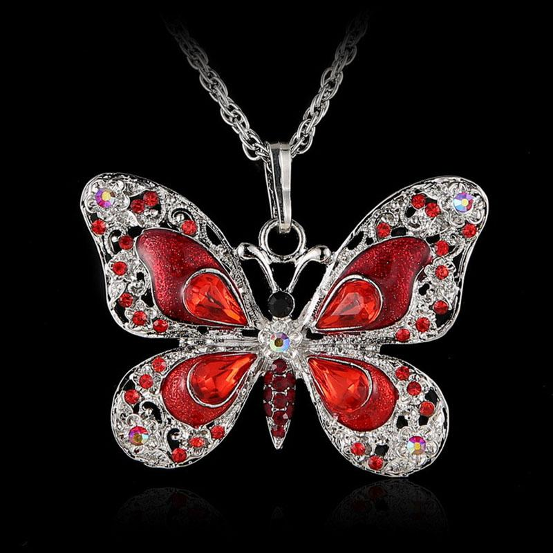 New Multicolor Crystal Butterfly Necklace Silver Shiny Butterfly Pendant Chains Fashion Jewelry for Women Gift DROP SHIP 162612
