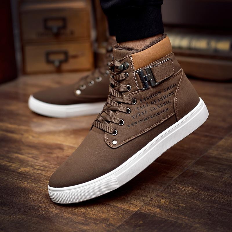 Excellent Quality Warm Winter Men Shoes High Top Canvas Casual Shoes Men Boots Autumn Leather Sneakers Metal Chain Male Flats Shoes