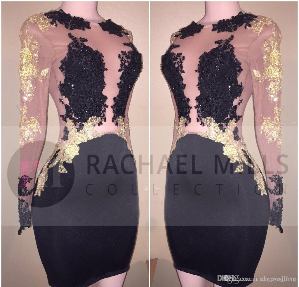 b6328020f0 2018 Cheap Black Sheer Long Sleeves Cocktail Dress Mini Short Lace Semi  Club Wear Homecoming Graduation Party Gown Plus Size Custom Made Cocktail  Dresses ...