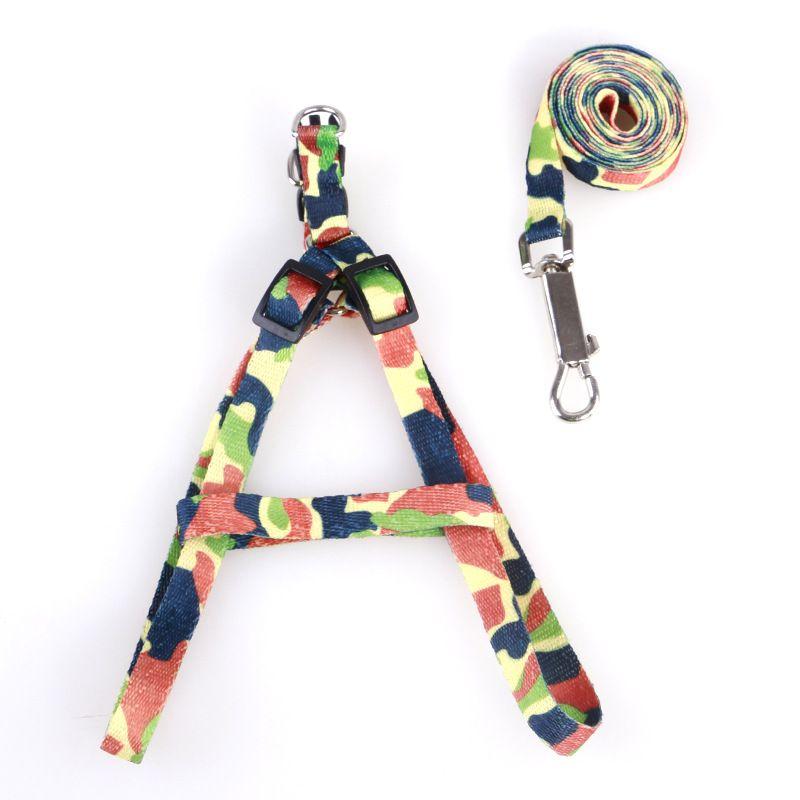 1.0 * 120cm Dog Harness Guinzagli in nylon stampato regolabile Pet Dog Collar Puppy Cat Animali Accessori Pet Collana Corda Tie collare HH7-1172
