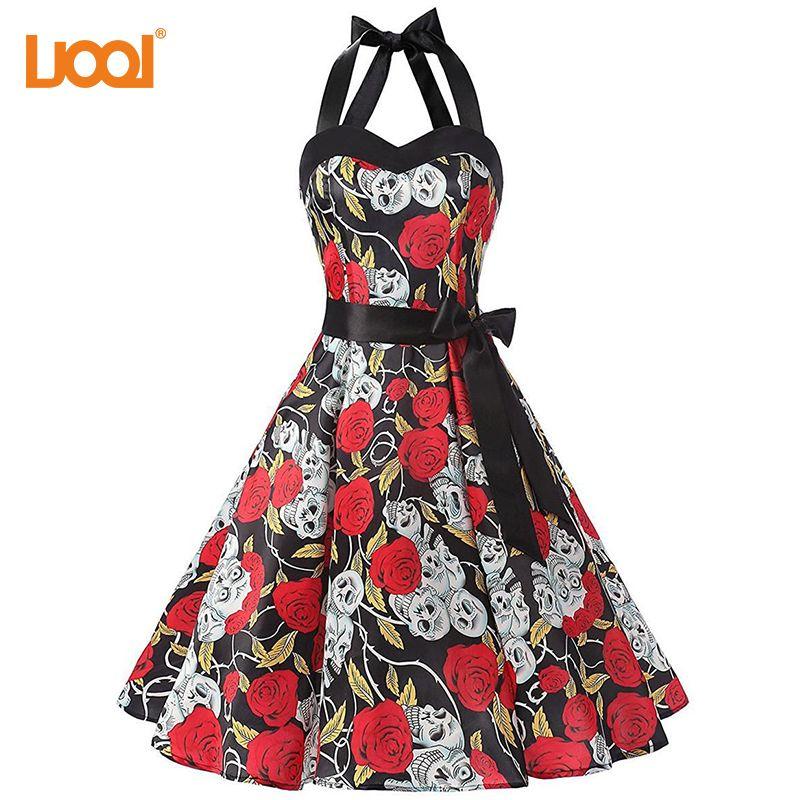 323f04e36970 Acquista Abito Donna 2018 Vintage Floral Retro Halloween 50s 60s Abiti Abito  Rockabilly Pinup Plus Size Halter Backelss Party Dress A  32.04 Dal  Firstcloth ...