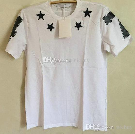 la moda de primavera marca de diseño camiseta del verano para los hombres que acuden estrella negro 7 4 carta camisas de algodón de impresión camiseta Camiseta casual tops
