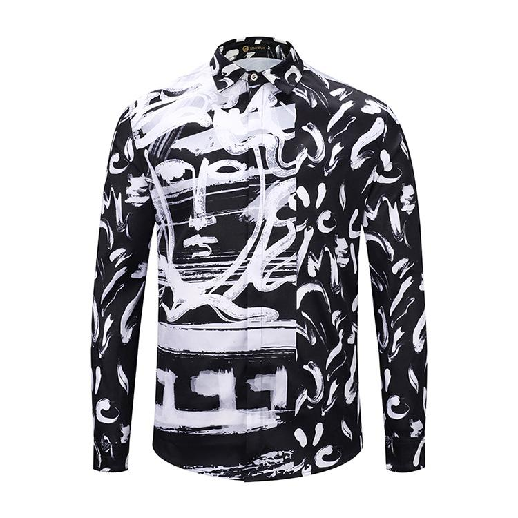2019 New Style Hot Sale Fashion Spring and Autumn Black and White Portrait Graffiti Men's Long Sleeve Men's Casual Shirts Size M-2XL