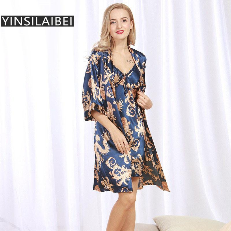 3348f7b2db Autumn Spring Women Sleepwear Satin Nightie Nightdress Dragon Print Silk  Nightgown Half Sleeve V-Neck Satin Robe SY143#10
