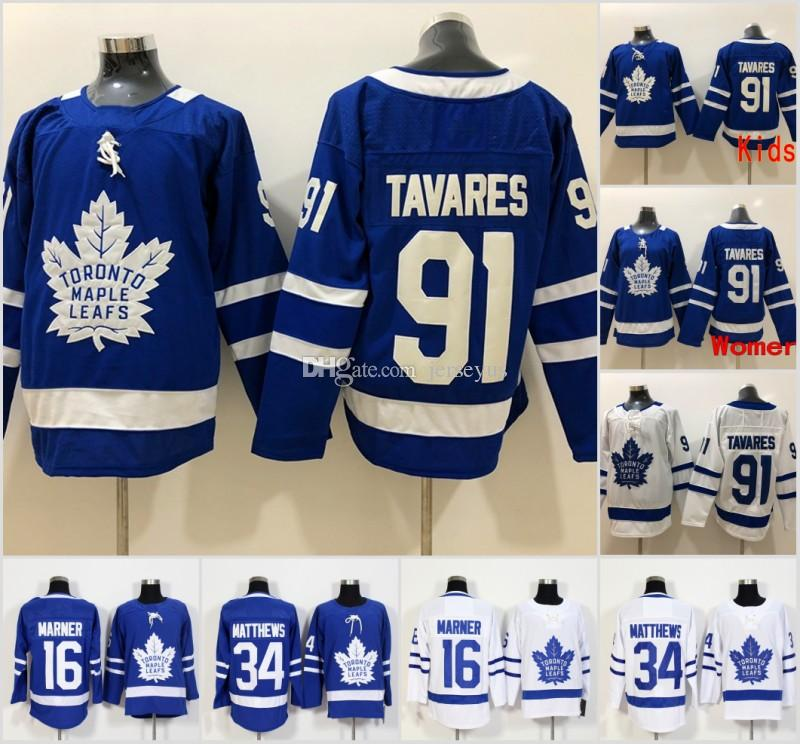 2019 2018 New 91 John Tavares Toronto Maple Leafs Hockey Jersey WOMEN YOUTH  Men 16 Mitch Marner 34 Auston Matthews Jerseys Embroidery Logos KIDS From  ... e68b2f906