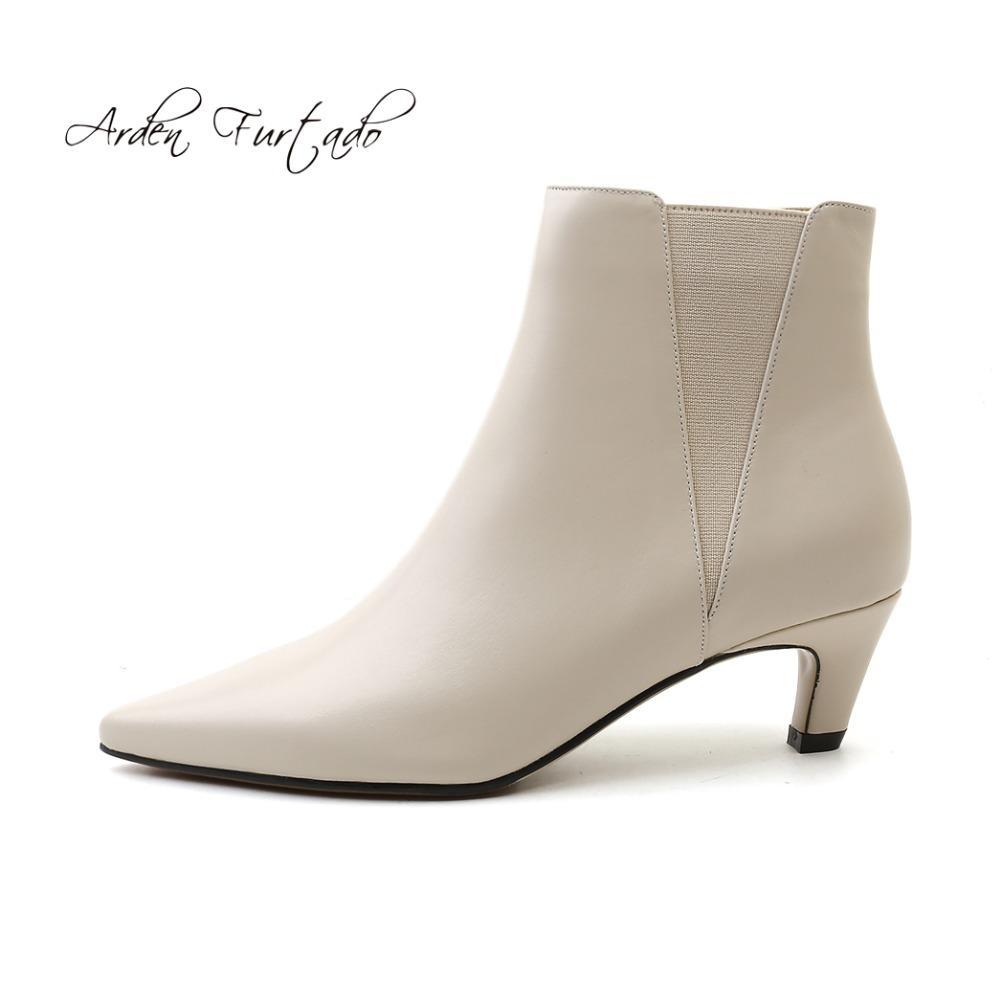 Arden Furtado 2018 autumn genuine leather slip on pointed toe fashion lower heels 5cm grey ankle boots shoes woman small size 33 cheap sale 2014 new the cheapest real cheap price outlet locations cheap online free shipping footaction JW1ugAo