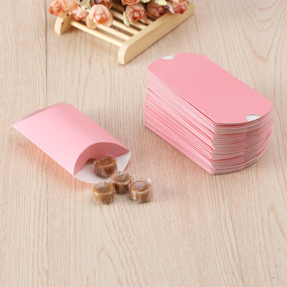 Cute Kraft Paper Pillow Candy Box Wedding Favors Gift Candy Boxes ...