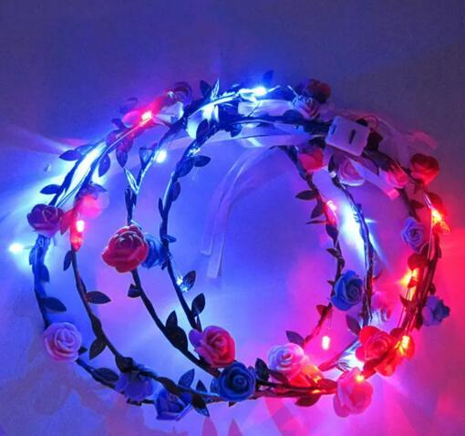 LED Flashing Rose Flower Festival Headband Veil Party Halloween Christmas Wedding Light-Up Floral Hairband for women DHL