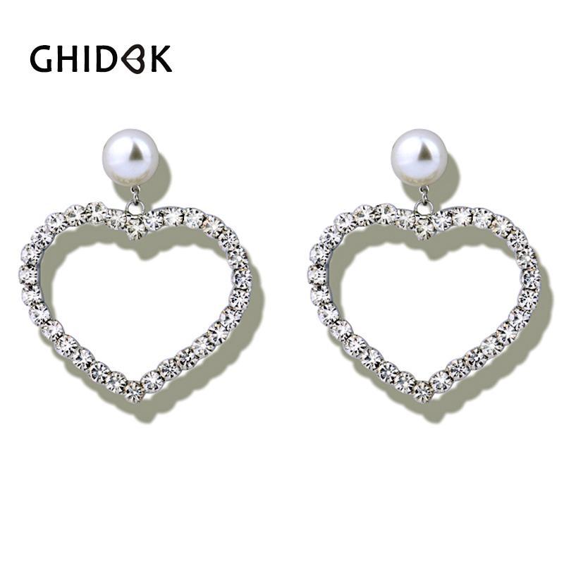 2f29a3a85db058 2019 GHIDBK Clear Crystal Zirconia Heart Hoop Earrings For Women Brincos  Modern Wedding Earrings Luxury Rhinestones Large Big Hoops From Zaonoodle,  ...