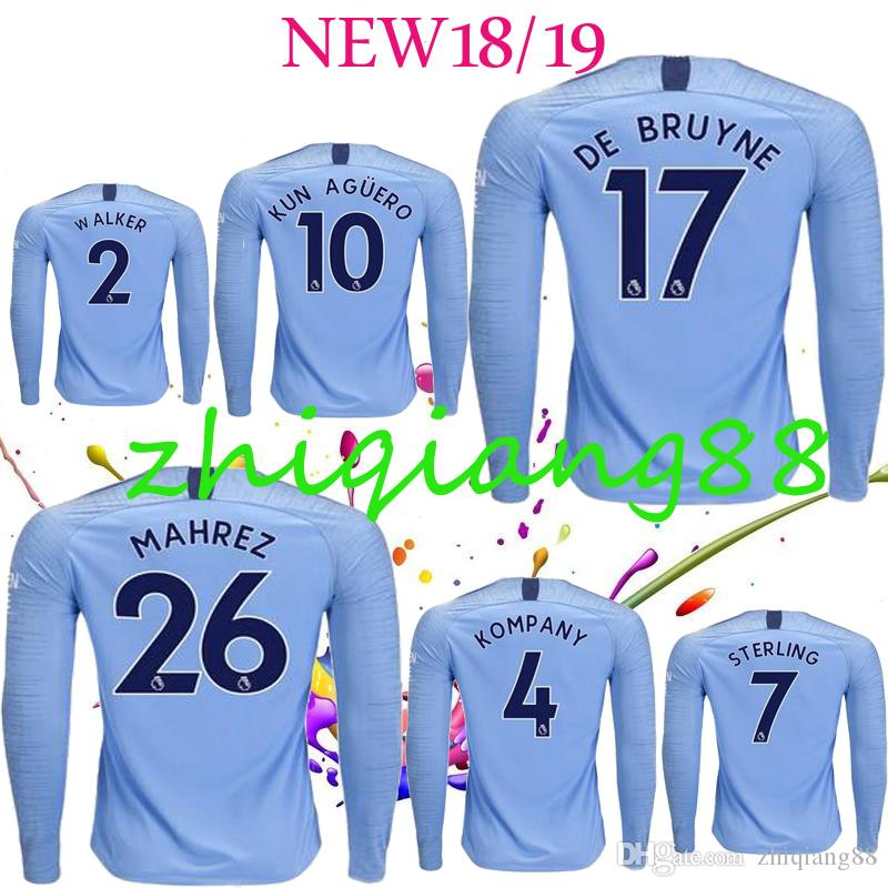 2018 2019 Manchester Soccer Jersey KUN AGUERO G.JESUS SANE STERLING DE  BRUYNE MAHREZ BERNARDO Camiseta De Fútbol De Manga Larga Personalizada De  City Por ... 9534ccdda7014