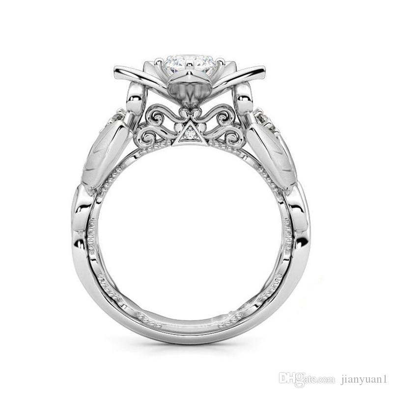 New Hot Fashion Alloy Solitaire Ring For Women Creative Rose Gemstone Shape Branch Ring Ornaments Birthday Platinum Zircon Ring