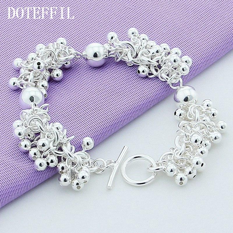 En gros 925 Sterling Silver Charm Bracelets Bijoux De Raisins Plus De Perles Bijoux Bracelet Plaqué En Argent Bracelet Femmes B015