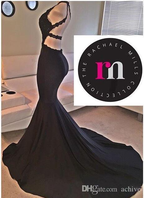 2020 Pizzo Abiti Backless sexy nero sera della sirena Abiti Jersey lungo da promenade Paillettes rilievo convenzionale dei vestiti del partito semi abiti convenzionali