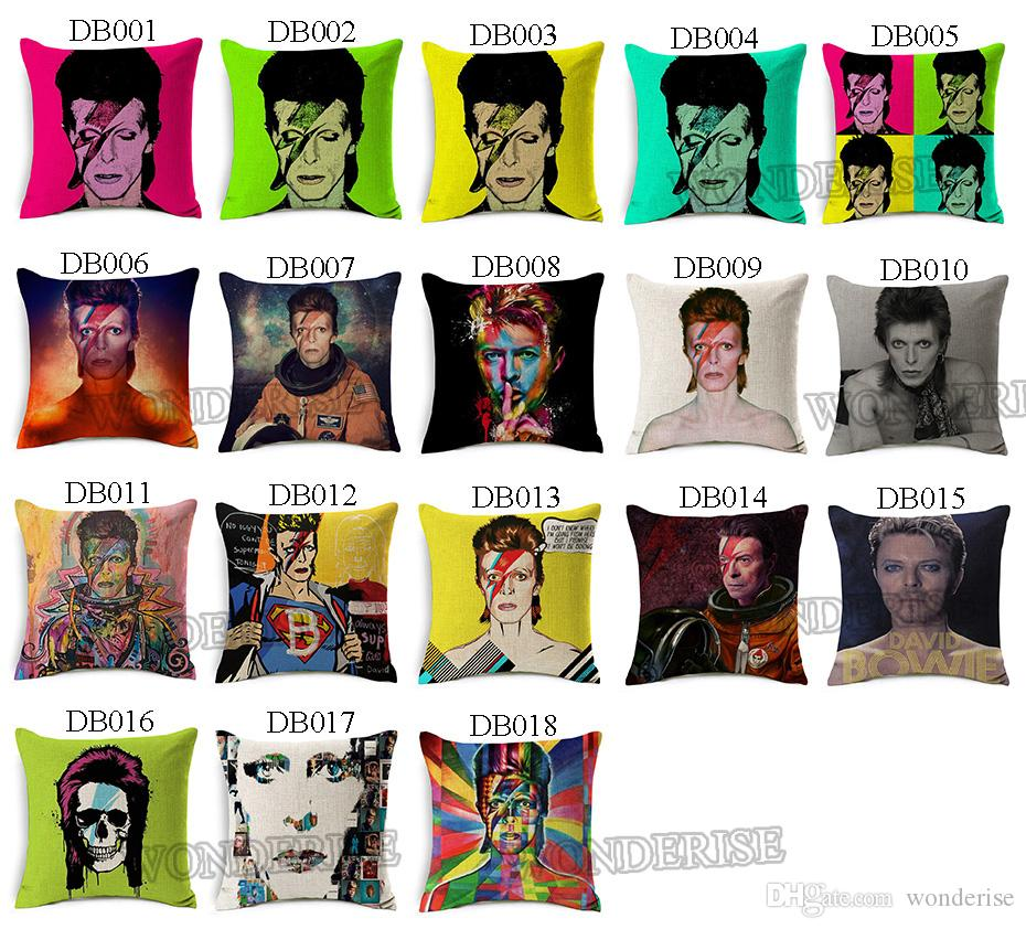 18 Styles David Bowie Cushion Covers Rock And Roll Music Star Space Cushion Cover Decorative Linen Pillow Case For Sofa Seat Chair