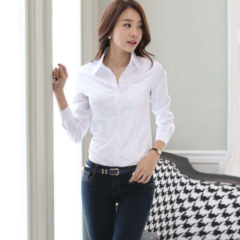 9577fb44fc443 Compre 2018 Moda Para Mujer Camiseta OL Manga Larga Camisa Con Cuello  Abotonado Blusa De Señora Tops Blanco Negro Manga Corta A  4.53 Del  H shoppy