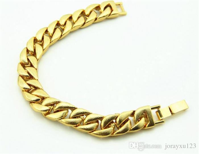 luxo dos homens simulado diamante moda pulseiras pulseiras banhado a ouro de alta qualidade congelado para fora de Miami cubano pulseira Hip Hop J051
