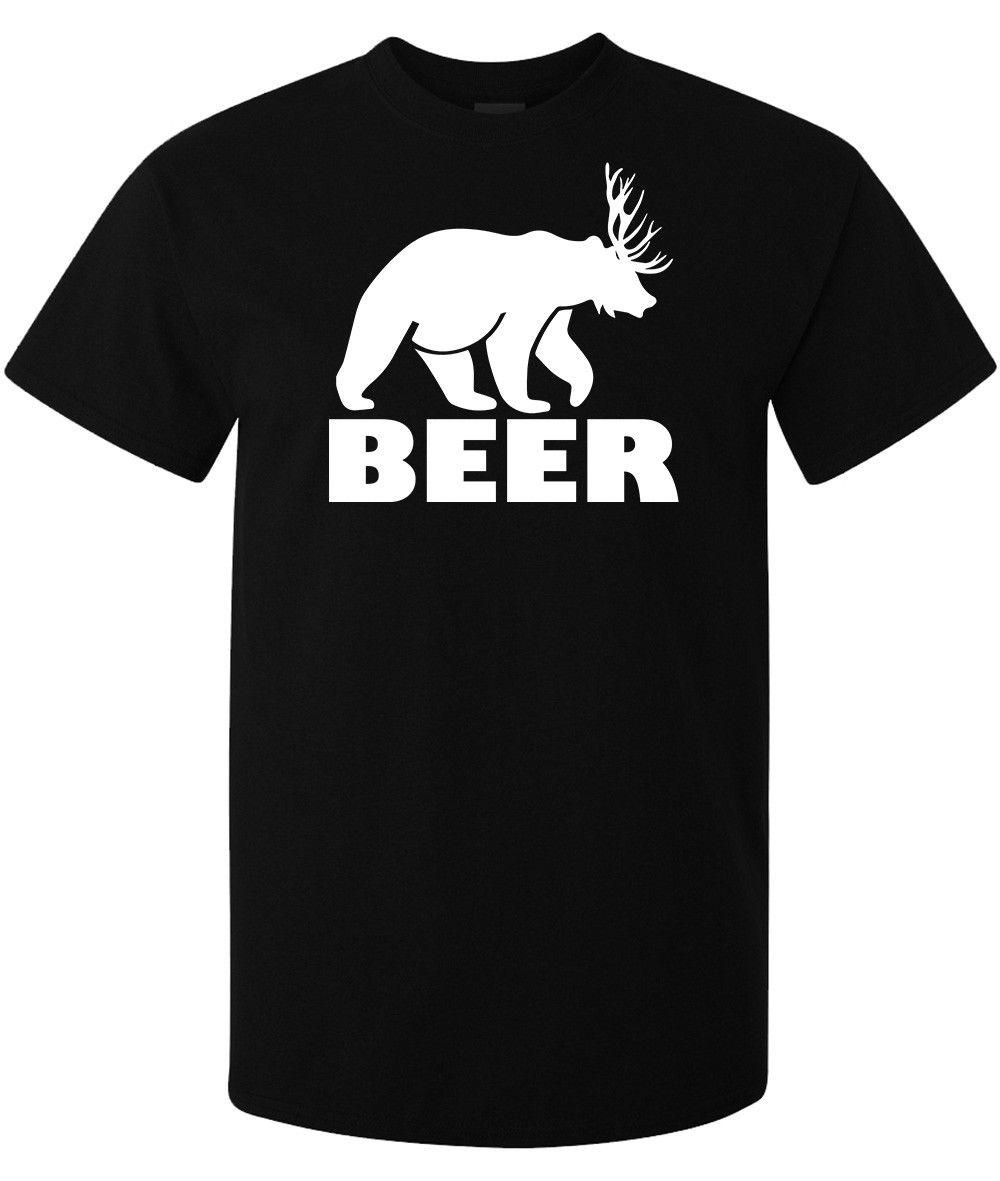 15dba6b1e Beer Funny Bear And Deer Mashup Graphic Men'S Woman'S Available T Shirt  Black Tee Shirt Homme T Shirt Men Funny T Shirt Design Online Vintage Tees  From ...