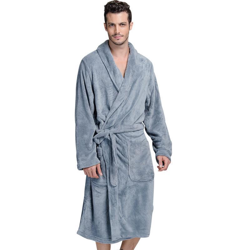XMS Brand Thick Flannel Men s Women Bath Robes Gentlemen Homewear ... aa9e5c931