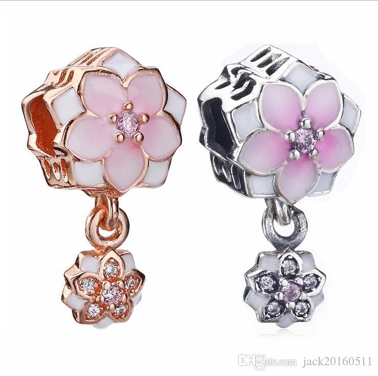 2018 925 Sterling Silver O Novo esmalte lotus talão Charme Serve Estilo Pandora Charm Braceletes DIY fazer jóias