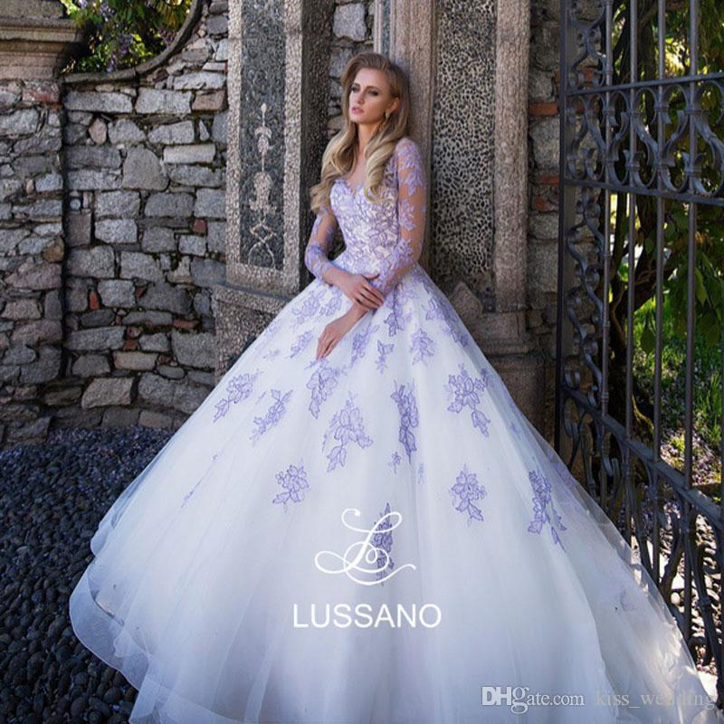 Discount Modest Wedding Dresses With Sheer Long Sleeves Lavender ...