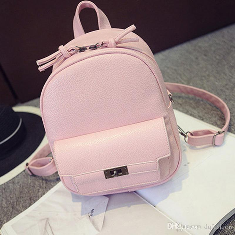 Nice- LEFTSIDE Back Pack Women PU Leather Backpack For School Teens Girls Bags Cool Small Bag Pack Women Multifunction Crossbody Bag Free sh