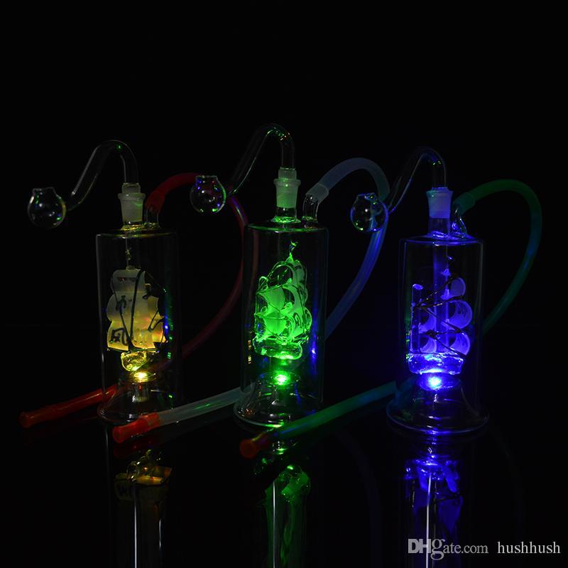 Renkli Bongs LED Işık Yağ Kuleleri Cam Su Bongs 10mm Ortak Yelkenli Tekne Dab Rig 5 inç Mini Yelkenli Bubbler Perc ile Banger 20