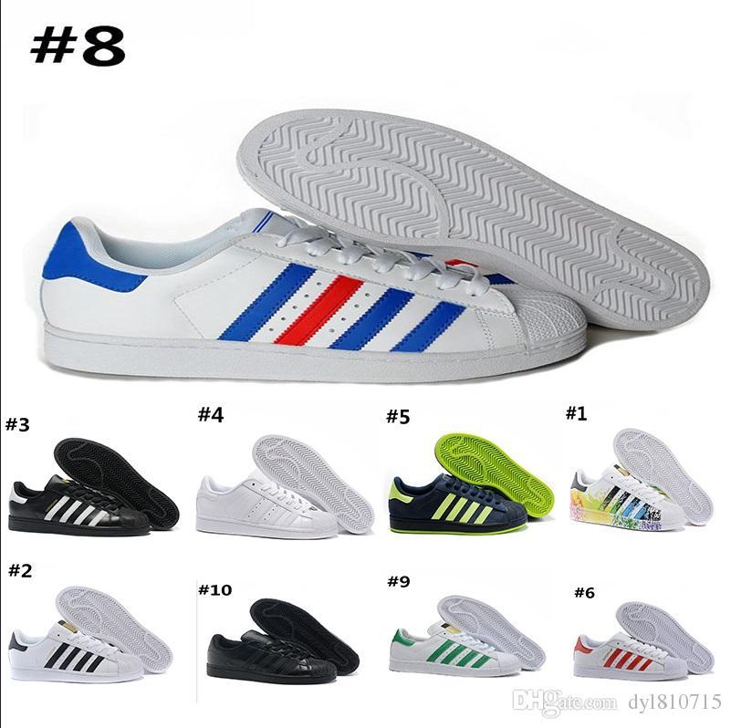 best service 56742 f087f Compre AD07 6 2018 Adidas Superstar 80s Sneakers Novos Sapatos Holográficos  Moda Masculina Sapatos Casuais Super Star Feminino Formadores Mulheres ...