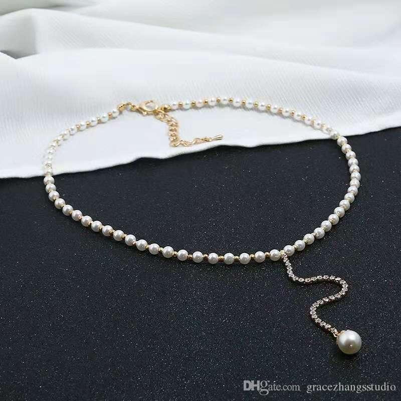 43ccd1f1f713 Compre Perlas De Cuentas Gargantillas Diamantes Cadena De Perlas Colgantes Collares  Mujer Chica Joyería De Moda Ajustable Longitud De Alta Calidad Envío ...