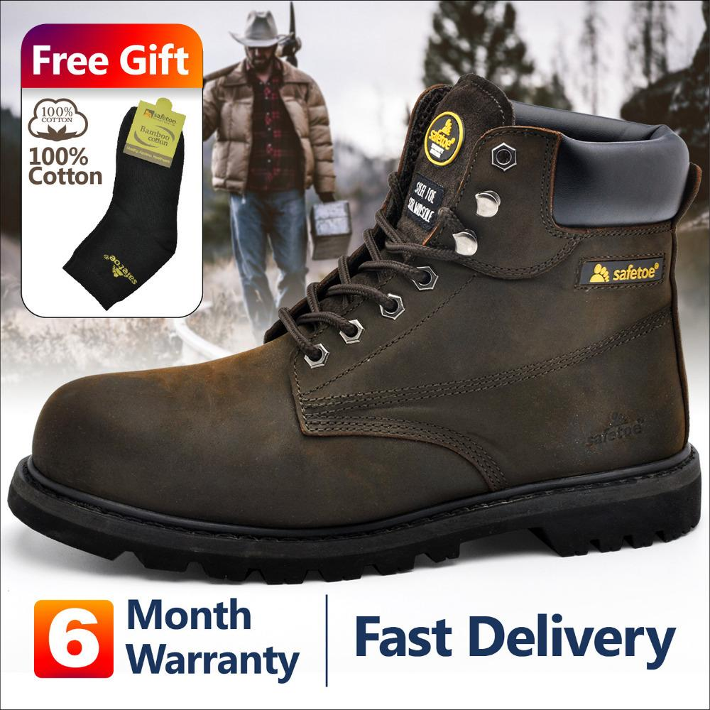 73f2d4fe661 2019 Safetoe Mens Work Boots Safety Shoes Trainers Steel Toe Brown Extra  Wide Cow Leather Steel Plate Midsole US Size 4 13 SRC Sneakers Rain Boots  Mens ...