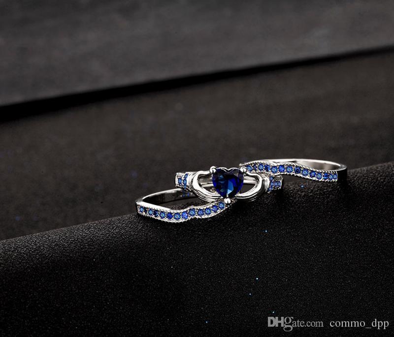 Lujo Tres capas de anillos de zafiro establece 925 plata esterlina Cristal azul Rhinestone diamante Corazón anillo de bodas Para las mujeres Joyería de moda