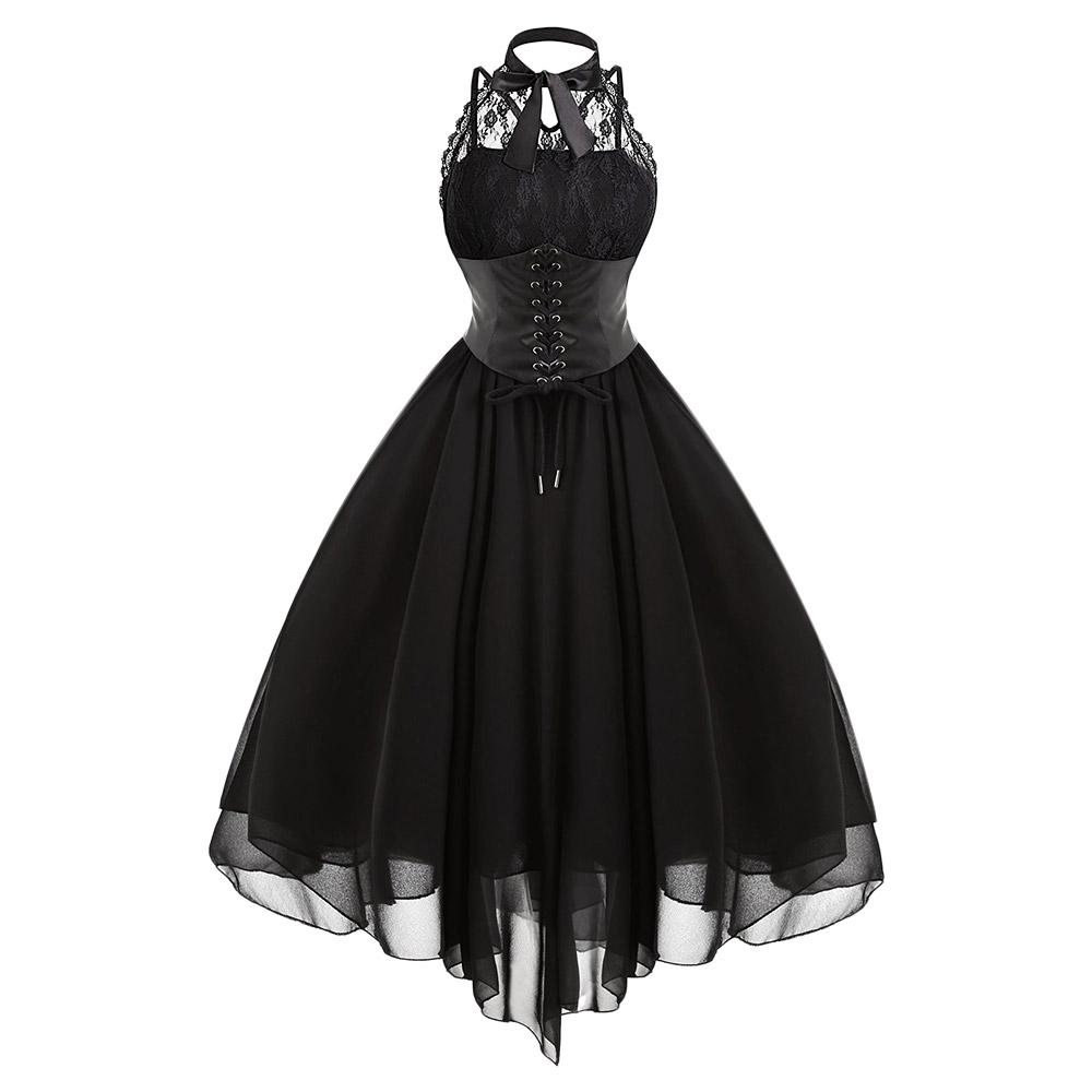 Gamiss 2017 Gothic Bow Party Dress Donna Vintage nero senza maniche incrociate posteriore pannello di pizzo corsetto Swing Dress Robe Vestidos Femme