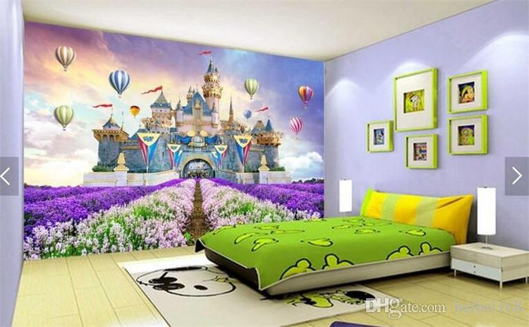 Kids Bedroom Wallpaper Purple flower Ballon Towe Castle Alcazar Barbacan Photo Murals for living Room Wall Paper Rolls