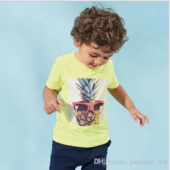 2018 Little Maven NEUE ANKUNFT Jungen scherzt bequemes T-Shirt des reinen Baumwollkurzschluss-Hülsen-Karikaturananas gedruckten kausalen Sommers Freies Verschiffen