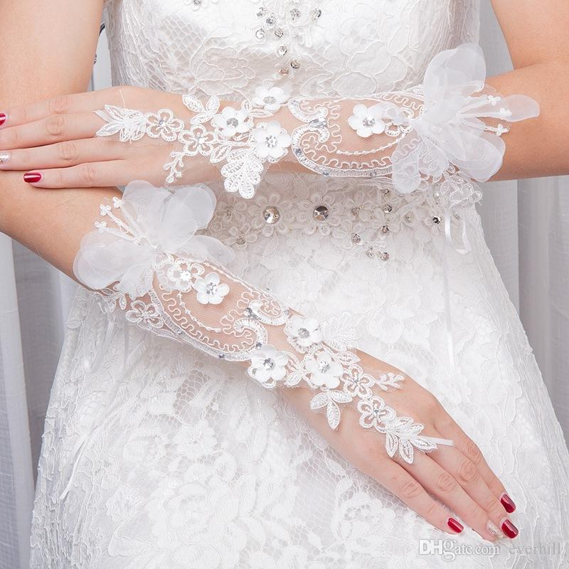 JaneVini Princess Beaded Flowers Bridal Wedding Gloves Lace Crystal Elbow Length Fingerless Hook Finger Wedding Dress Gloves 2018