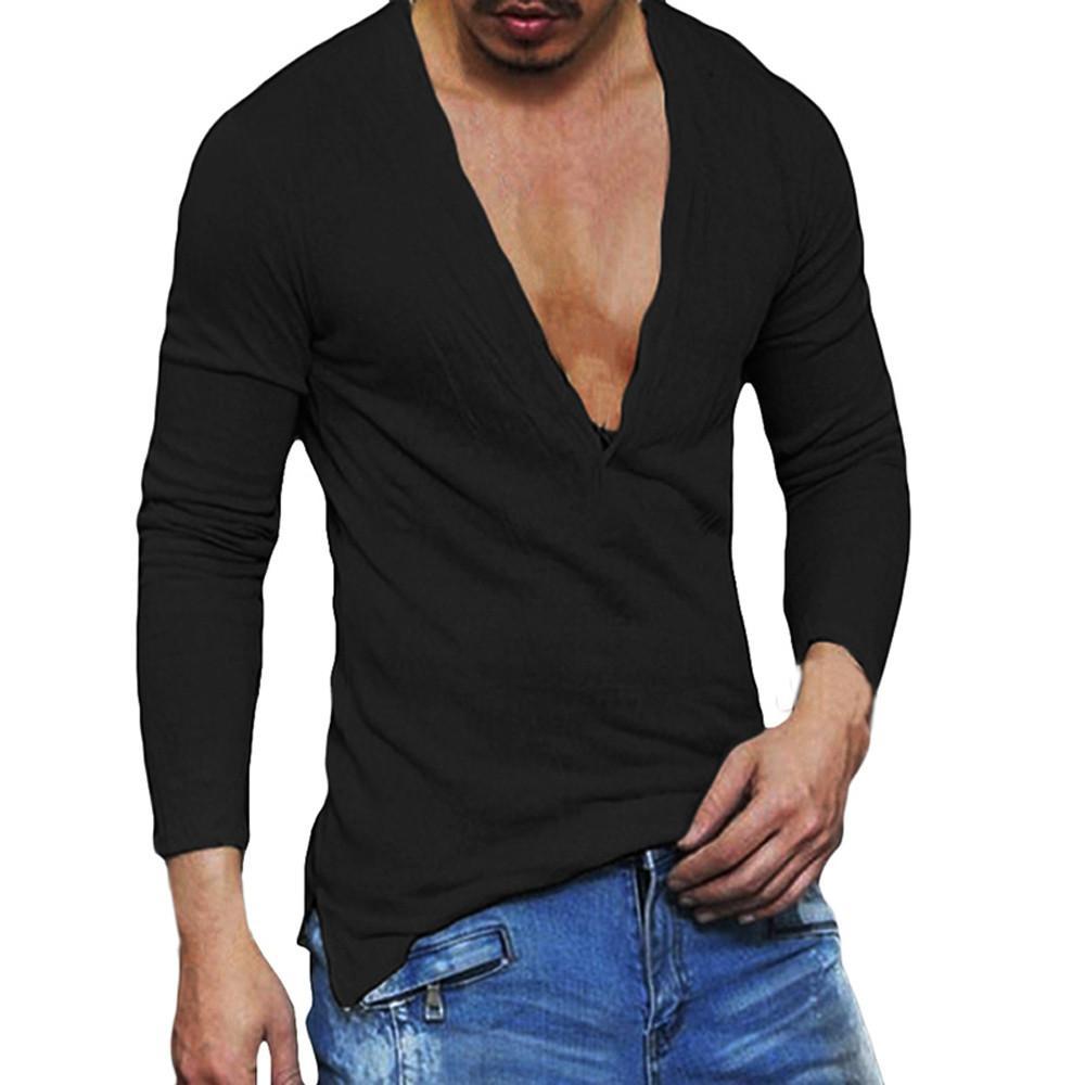acb94b449 Ocasional de los hombres Slim Fit cuello en V profundo de verano de manga  larga camiseta básica camisa moda casual sexy nuevo estilo 2018 para ...