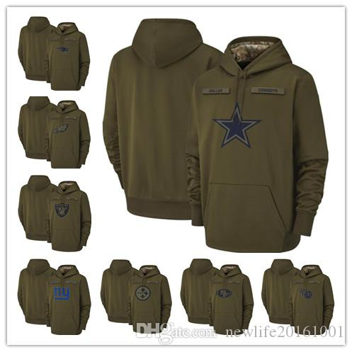 Dallas Cowboys New England Patriots Oakland Raiders Philadelphia Eagles Pittsburgh Steelers 2018 Olive Salute to Service Pullover Hoodies